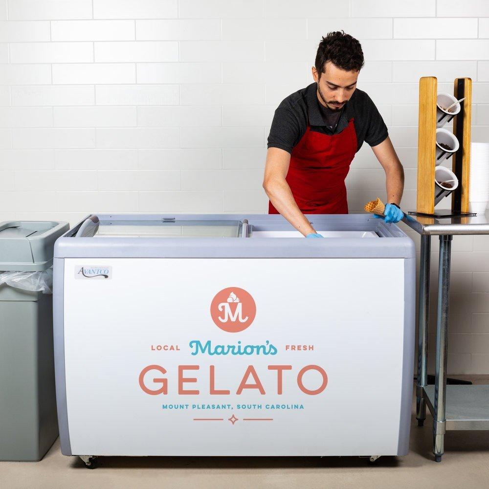 custom freezer graphic for gelato freezer